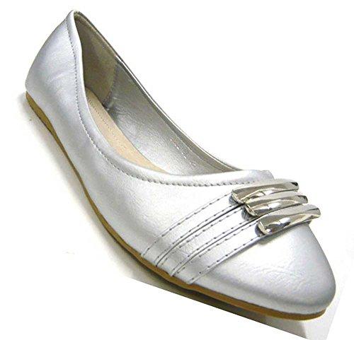 Schuh-City Elegante Damen Schuhe Ballerinas trendy Slipper silber 37