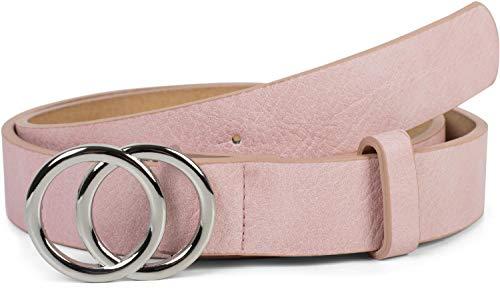 styleBREAKER Damen Gürtel Unifarben mit Ringschnalle, Hüftgürtel, Taillengürtel 03010093, Größe:100cm, Farbe:Rosa-Silber