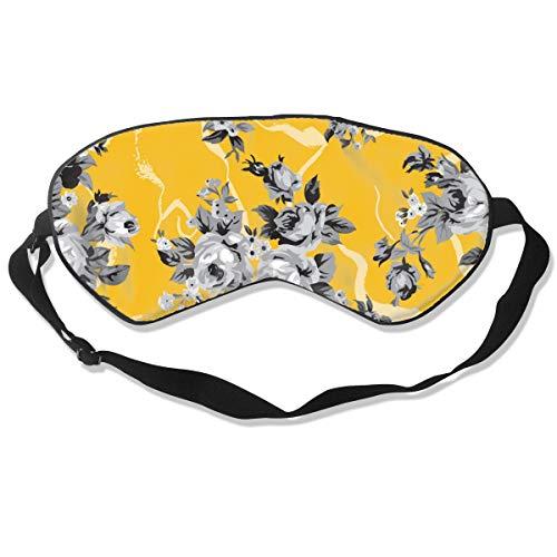 Wrution Vintage Chintz Rosen Nahtloses Muster Gelb individuelle Schlafmaske Augenmaske Verstellbare Träger Super weich für Damen und Herren Vintage Rose Chintz