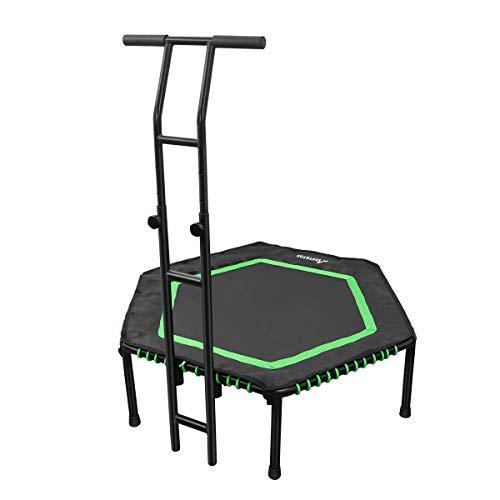 MOVTOTOP Indoor Trampolin mit Doppelgriff für Erwachsene & Kinder, Fitness Trampolin (Ø122cm), Sport Trampolin, Gummiseil-System Sicher mit Randabdeckung-Bs120kg