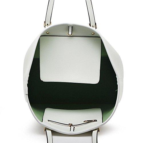LeahWard Oversize Damen Shopper Taschen Qualität Faux Leder Umhängetasche Handtaschen für Frauen Schulferien CW31 (Mude/Grau Oben offen) Alt-Weiß Oben offen