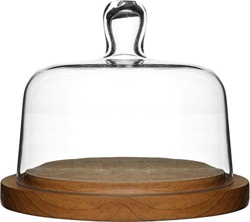 Sagaform 5026044 Käseglocke, 2 Einheiten, Glas / Holz, 21 x 21 x 16 cm