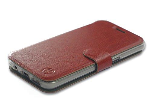 MOBIWEAR Book Style Handy Motiv Tasche Flip Case Cover Hülle für Xiaomi Mi6 - Brown&Grey Brown Handy Case