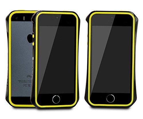 Aero 5 Alliage pare-chocs Téléphone portable étui cas pour Apple iPhone 5 / 5S - Nouveau Design de 2016 - Noir & Bleu Noir & Jaune