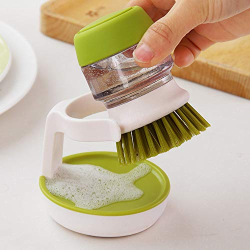 Getko With Device Palm Scrub Dish Brush with Washing Up Liquid Soap Dispenser Storage Stand(Green)