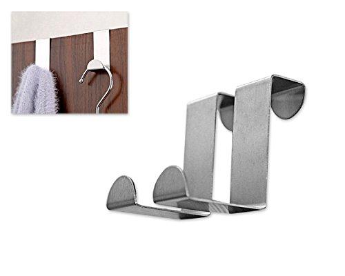 DSStyles 6 Stück Edelstahl über Tür Haken Set Tür Kleiderbügel S Haken Mantel Haken Organizer - Silber