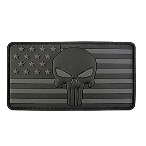 ALL BLACK Punisher American Drapeau Morale Tactical PVC Gomme Velcro Écusson Patch