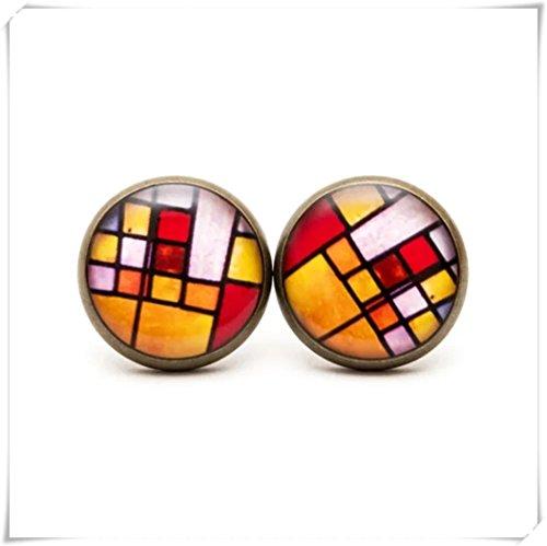 JUN Mosaic Stud Earrings, Mosaic Jewelry,Rainbow Mosaic Post Earring, Geometry Jewelry.