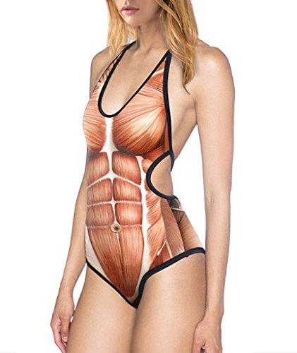 COMVIP Damen Overall Sommer Strand Bikini-Sets Tankini Badeanzug Bademode Swimwear Swimsuits Geblümt Braun