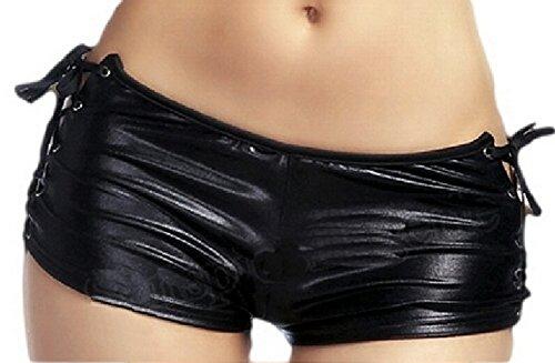 krautwear Damen Hotpants Booty Shorts Pantys im Wetlook Lack Leder Design (L (EU - Booty Frauen Shorts