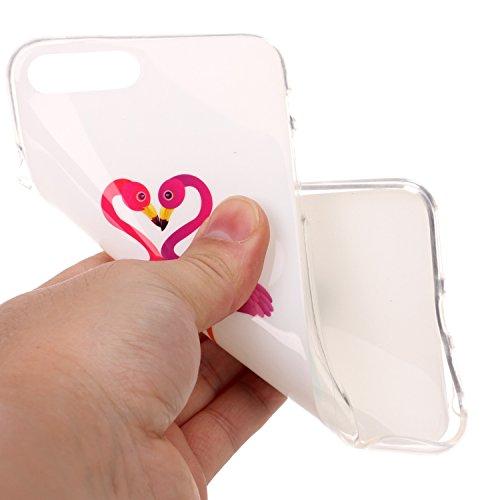 iPhone 7 PLUS Hülle, Cozy Hut ® [Liquid Crystal] [Ultra Dünn] Bumper-Style Premium-TPU / Sehr Leicht / Perfekte Passform / Durchsichtiges Soft-Case Schutzhülle für Apple iPhone 7 PLUS (5.5 zoll), Appl Herz Flamingos