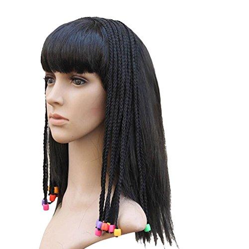 MFFACAI Kopfschmuck Perücke, schwarz braun Bart gefälschte indische Bettler Perücke Gilt für Dress up Prom, Cleopatra Wig (Schwarze Cleopatra Perücke)
