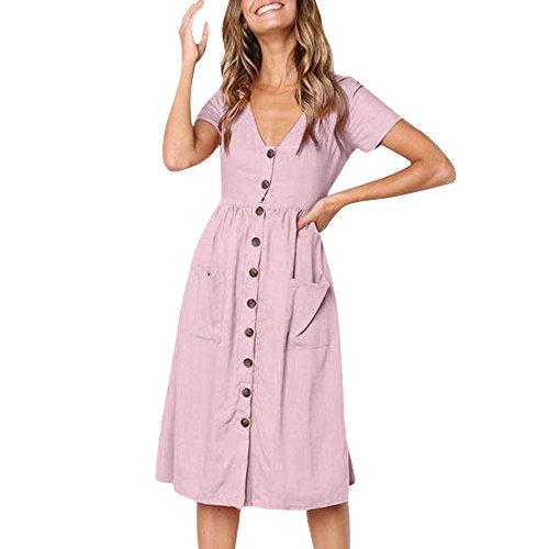 GOKOMO Damen Sommerkleider Kleiden Shirtkleid Womens Holiday Summer Beach Solide Kurze Ärmel Knöpfe Partykleid Kurzärmliges Kleid mit kurzen Ärmeln und Knopfleiste(Rosa,Large)
