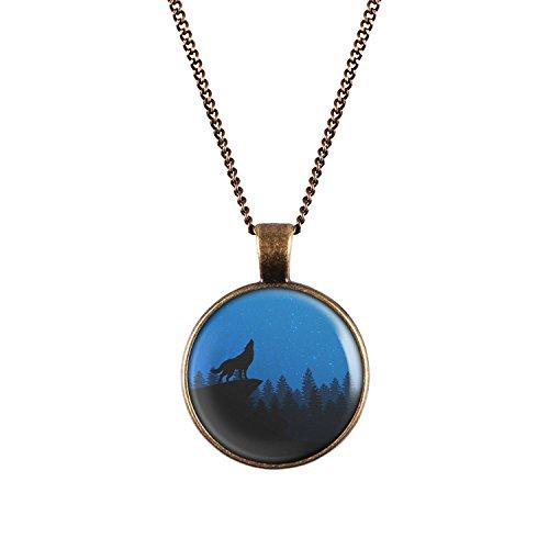 Mylery Hals-Kette mit Motiv Wolf Berg Wald Himmel Blau Sterne bronze 28mm