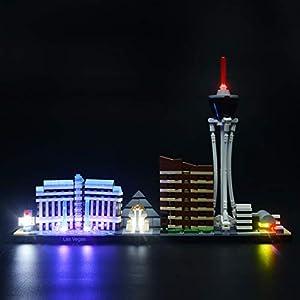 BRIKSMAX Kit di Illuminazione a LED per Architecture Las Vegas, Compatibile con Il Modello Lego 21047 Mattoncini da… Giocattolo LEGO