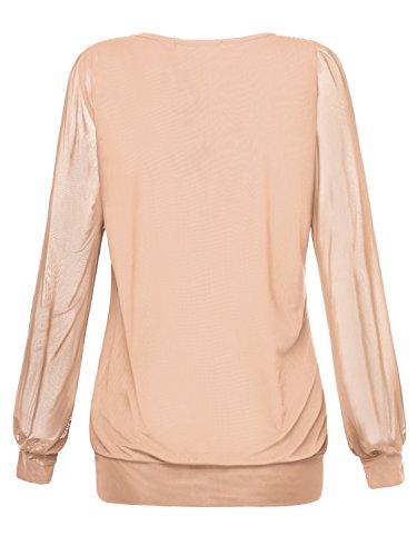 BaiShengGT Damen Langarmshirt Rundhals Falten Shirt Stretch Tunika Apricot