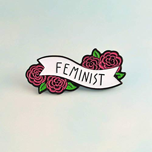 LKLKLK Feminism Liberalism Red Rose Floral Feminist Pins Badges Brooches Enamel Lapel Pin Backpack Bag Accessories Gift For Women Girls