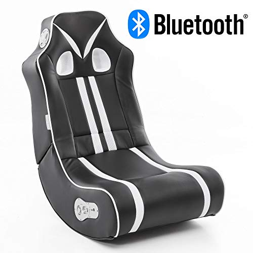 Wohnling® Soundchair Ninja in Schwarz Weiß mit Bluetooth | Musiksessel mit eingebauten Lautsprechern | Multimediasessel für Gamer | 2.1 Soundsystem - Subwoofer | Music Gaming Sessel Rocker Chair