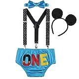 OBEEII Neonato Bambino 4 Pezzi Pantaloncini + Cravatta a Farfalla + Bretelle + Mickey Fascia Abbigliamento Set Costume per Festa Compleanno Carnevale Fotografia Prima Infanzia 6-12 Mesi Blu