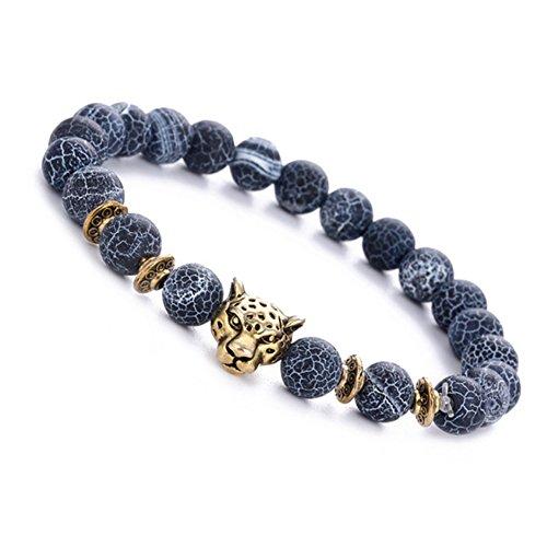 AIUIN 8MM Enerigearmband Energie Armband Armkette EnergieStein Kugelkette Achat Türkis Tigerauge mit Leopard Panter Perlen Perle für Kinder Damen und Herren