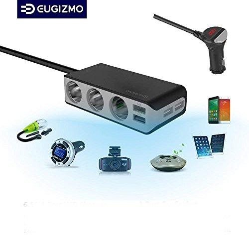 Auto Zigarettenanzünder - Ladegerät Verteiler USB KFZ Ladegerät mit 4 USB Ports 6,5A, 3-Fach 12V/24V DC Car Charger Adapter Splitter - Auto Adapter für iPhone iPad, Navi, Handy, PC Tablet