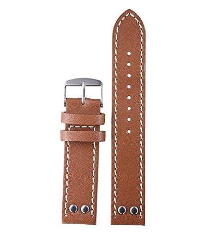 22mm luxe durable bracelet cuir suédé brun doux pour la peau pour les hommes en cuir avec des rivets en détresse supérieure avec un contraste blanc piquées