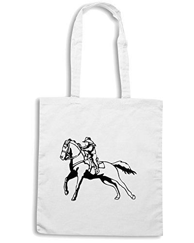 T-Shirtshock - Borsa Shopping FUN1054 cowboy kids diecut vinyl decal sticker 1 83487 Bianco