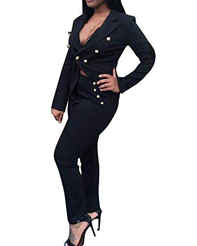 Donne Cappotto Corta Mantello Giacche Da Abito E Blazer + Pantaloni Nero