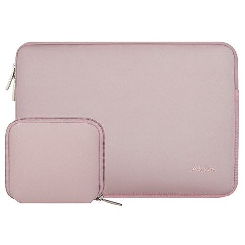 MOSISO Sleeve Hülle Tasche Kompatibel 15 Zoll Neueste MacBook Pro mit Touch Bar A1990/A1707, 14 Zoll ThinkPad Chromebook, Notebook Wasserabweisend Neopren Laptoptasche mit Klein Fall, Baby Rosa Rosa Laptop Sleeve