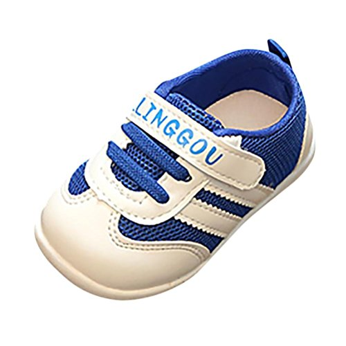Zapatos Bebé Prewalker ❤️ Amlaiworld Niños Infantil Niño Niña Carta Imprimir Malla Running Zapatos Calzado Deportivo Casual Zapatilla de Deporte Primeros Pasos (Azul, Tamaño:12-18Mes)