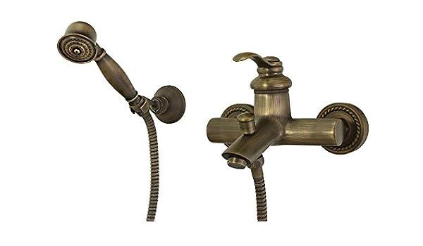 retro miscelatore monocomando rubinetto vasca da bagno ottone antico