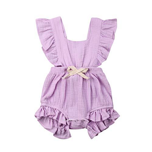 WangsCanis Baby Mädchen Junge Ärmellos Gekräuselte Einteiliger Strampler Kleinkind Spielanzug 0-24 Monate Prinzessin Neugeborenes Kleidung Violett 2 ()