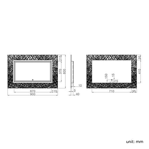 soak Specchio di Design per Bagno con Illuminazione a LED, Sensore Luce e Antiappannamento, 900 x 600 mm - 5