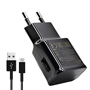 VOZC 2.0Amp Fast Charger with Type - C USB Data Cable for Samsung S8, S8 Edge, C9/C7 Pro, A7(Black)