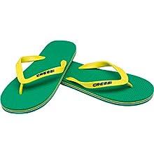 Cressi Unisex-Youth Flip Flops Beach and Pool, Green/Yellow, 1/2 UK Kids