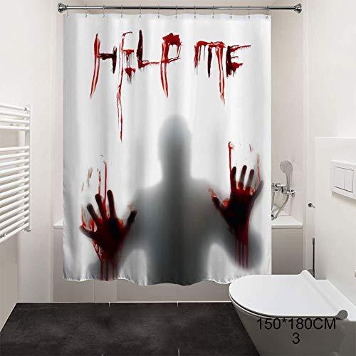 Gakoz Halloween Duschvorhang Polyester Fenstervorhänge mit blutigen Händen für Halloween Badezimmer