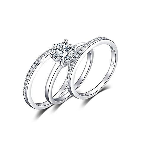 JewelryPalace 1.81ct Magnifique Bague de Fiançailles Femme Alliance Mariage Anniversaire Amour 3 anneaux Ensemble en Argent Sterling 925 en Zircone Cubique de Synthèse CZ Taille