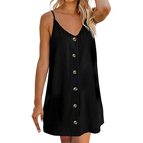 iYmitz Damen Sommer Minikleid Strand ärmellos lässig Einfarbig Freizeit Rückenfreies Kleider mit Button(Schwarz,EU-42/CN-2XL)