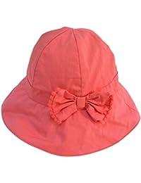 Tangda Chouette Bonnet Chapeau de Bébé en Coton Bob Hat pour Enfant Fille Soleil Casquette Orange avec noeud papillons Tour de Tête 46-52CM 9mois-6ans