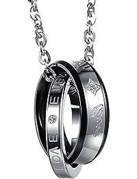 Flongo Acier Inoxydable Pendentif Collier Forever Love Argent Or Noir Anneau Amour Valentine Couple His/Hers Fixer Homme/Femme,Chaîne 50cm/45cm