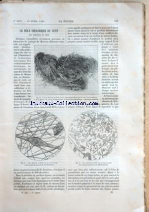 NATURE (LA) [No 1091] du 28/04/1894 - LE ROLE GEOLOGIQUE DU VENT - PHYSIQUE AMUSANTE / LA PRESTIDIGITATION DEVOILEE par Collectif