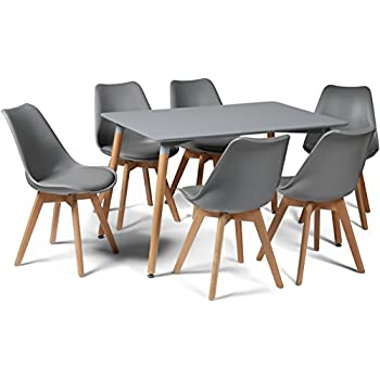 Toulouse Tulip Eiffel Style Dining Set - Grey 120x80cms Small Rectangular Table And 6 Grey Chairs