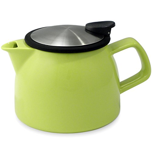 FORLIFE Bell Ceramic Teapot with Basket Infuser, 26-Ounce/770ml, Lime