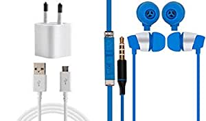 JIYANSHI Combo of 2A Wall Chager/Portable Charger/Mobile Charger & Wired In-ear Headphone/Earphone(Blue) Compatible for Compatible for Alcatel Onetouch Pixi 4007