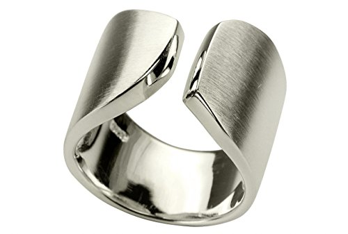 SILBERMOOS Witziger Ring Damenring offen diagonal matt Sterling Silber 925, Größe:58 (18.5) Diagonal Matt