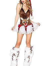 SHUNLIU Disfraces de Navidad Cosplay Animal Traje de Reno Traje de Navidad Puff Falda Traje de