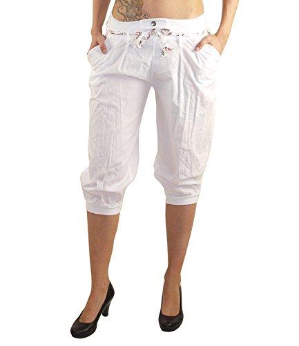 MODA Made in Italy Kurze Blickdichte Damen Sommerhose Haremshose mit elastischem Bund und modischen Stoffgürtel Pluderhose Strandhose Pumphose Hose DK022 (Weiß)