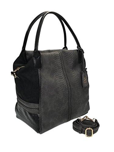collezione alessandro XL Shopper Schultertasche mit langem Trageriemen und praktischen Fächern, ca. 35x31x20cm (schwarz)