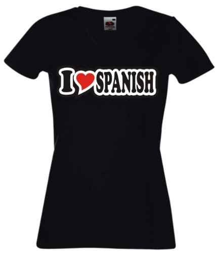 T-Shirt Damen - I Love Heart - V-Ausschnitt I LOVE SPANISH Schwarz