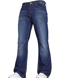 Von Denim Men's Wide Leg Bootcut Flared Bell Bottom Blue Heavy Denim Jeans in All Waist and Sizes by JEANBASE